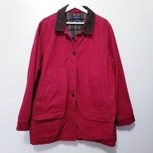 Lands End wmn Red Coat Utility Jacket sz 2X 20-22W